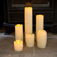 Set Of Six Skinny Battery LED Candles