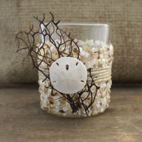 BEACH CANDLE HOLDER,  Wedding Votives, Beach Cottage Decor by Cheydrea