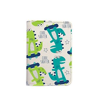 Cute Dinosaur Pattern Leather Passport Cover - Vintage Passport Wallet - Travel Accessory Gift - Travel Wallet for Women and Men _Mishkaa