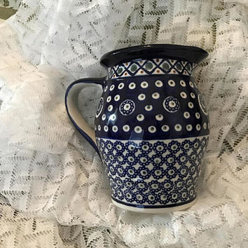 Vintage Polish Pottery Boleslawiec Large Stoneware Spouted Pitcher, Blue and White Polish Pottery, Vintage Polish Stoneware