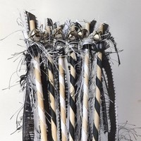 Fun fur wands, set of 12, ribbon & fiber streamers with bell option, parade waving, wedding or birthday party favors