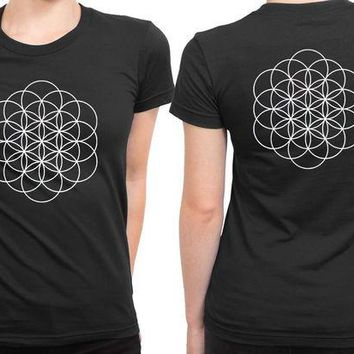 VONEED6 Coldplay A Head Full Of Dreams Logo Black And White 2 Sided Womens T Shirt