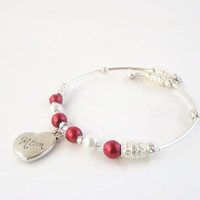 Valentines Day Mom Bracelet~Gifts for mom for Valentines Day, Heart Jewelry,Red and White Gifts,Pearl Gifts for mom,Memory Wire Bracelet