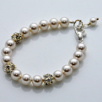 Wedding Bracelet,Swarovski Pearl and Rhinestone, Bridal Jewelry, Swarovski Jewelry, Bridal Bracelet