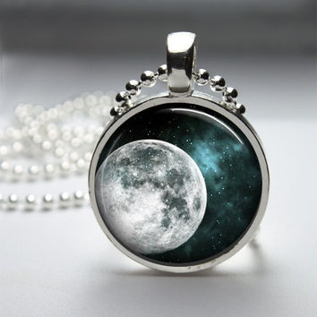 Round Glass Bezel Pendant Moon Pendant Moon Necklace Photo Pendant Art Pendant With Silver Ball Chain (A3646)
