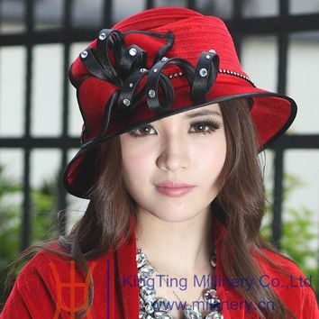 Free Shipping Fashion Women Hat Velvet Hat Winter Red Girl Ribbons Leave Shape Hair Accessories Ladies Church Hat Good Quality