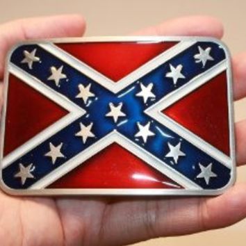 new western Rebel flag square southern pride belt buckle T152