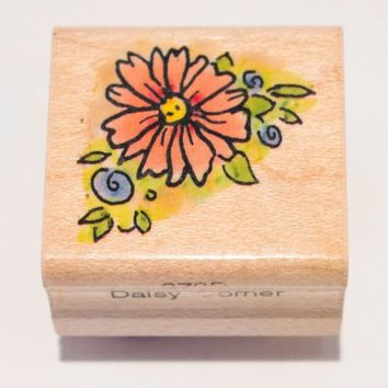 "Daisy Corner 1"" Border Flower Penny Black Michael Woodward  Rubber Stamp 379B"
