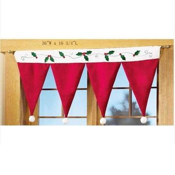 MDIGON1O Christmas hats Christmas Decorations Windows Hanging decoration Chirstmas Curtain = 1946103108 Day First