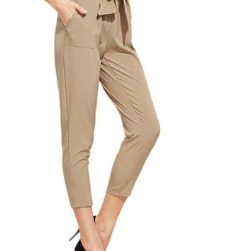 Tie Waist Pants Women Khaki Elegant Ruffle Bow Peg Cropped Pants Fashion New Mid Waist Brief Pockets Work Pants