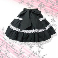 Bow White Lace Hem Black Lolita Skirt