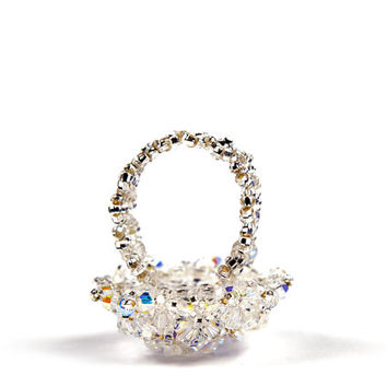 Handmade Unique Swarovski Crystal Ring Beaded Bead-woven Engagement Ring ' Pop the Q with me'