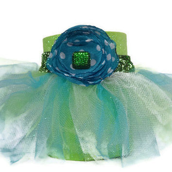 Green Glitter Can Koozie with Green, Blue, White Tutu and Blue Polka Dot Chiffon Flower Accent