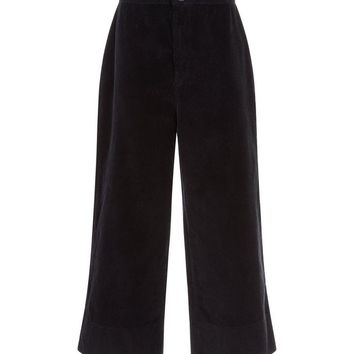 Black Wide Leg Cropped Corduroy Trousers | New Look