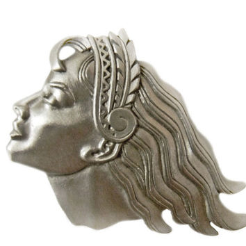 JJ Art Deco Style Brooch Woman Profile Flowing Hair Pewter Tone