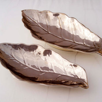 A pair of Vintage Royal Winton Grimwades Silver Lustre Ware Serving Leaves Dishes