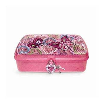 Children's Butterfly Locking School Box with Crystals