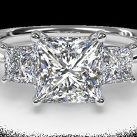 Three-Stone Diamond Engagement Ring with Princess-Cut Side-Diamonds - in 18kt White Gold (0.38 CTW) | Ritani