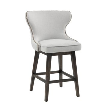 REILLEY SWIVEL COUNTER STOOL LIGHT GREY FABRIC
