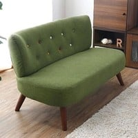 Modern Living Room Sofa 2 Seater Linen Fabric Upholstery Wood Legs Japanese Style Furniture Loveseat Luxury Lazy Sofa Couch