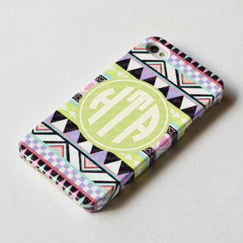 Monogrammed Pastel Geometric iPhone 5 Case,Monogrammed iPhone 4 case , iphone 4s case , Pastel Aztec tribal iphone case , iphone cover
