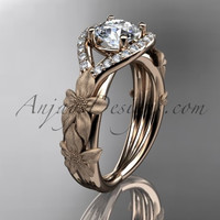 14k rose gold diamond leaf and vine wedding ring, engagement ring ADLR85
