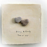 Unique Personalized Wedding Gift - Canvas Ready to Hang -  genuine Heart shaped Beach stones rocks