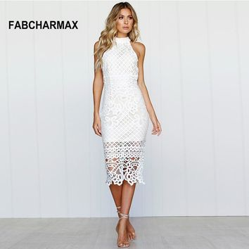 Crochet Hollow Out Patterns White Cut Out Sleeveless Midi Dress
