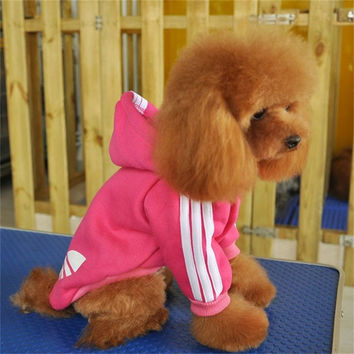 Small Four Leg Puppy Dog Coat Jumpsuit Pet Cotton Sportswear Costume Adidog Clothes For Dog Jumpsuit Sweater For Teddy Chihuahua