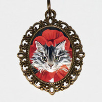 Red Riding Hood Cat Necklace, Bronze Oval Pendant