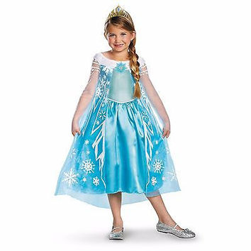 Disguise Disneys Frozen Elsa Deluxe Girls Costume, 7-8