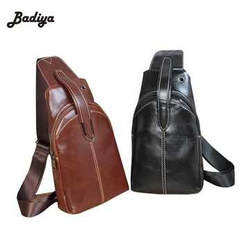 Black Brown Messenger Bags For Man Brand Designer Vintage Men's Crossbody Chest Bag Solid PU Leather Mens Fashion Shoulder Bag
