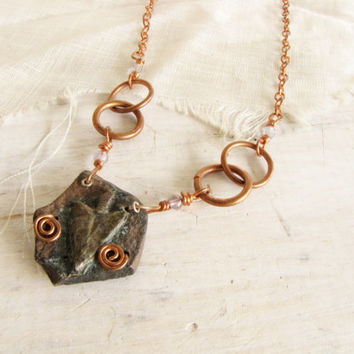 Arrowhead Rock Copper Wire Wrapped Pendant Copper chain Necklace Man Woman Jewelry  Southwestern Handmade Jewelry Arrow