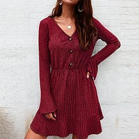 Casual Party Knitted Sweater Dress Women Feminino Dress Ruffle Retro Short Plus Size Dresses Vestidos