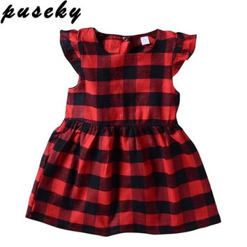 Puseky Newborn Toddler Girls Dress Clothing Summer Ruffles Sleeve Red Plaid Princess Casual Outfits Baby Kids Sundress Clothes