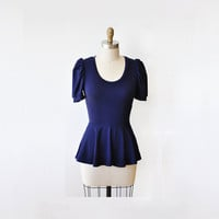 Navy Blue Peplum Top, Peplum Shirt, With Short Puff Sleeves (or regular sleeves 55usd) By Lirola