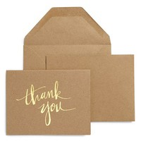 sugar paper 'Kraft Scratchy Thank You' Letterpress Note Cards (Set of 6)