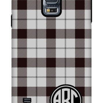Plaid Monogram Galaxy S5 Extra Protective Bumper Case