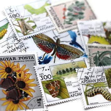 Butterflies Moths Print Postage Stamps Botanical Set of 9 - All Different - Altered Art, DeStash Paper Lot