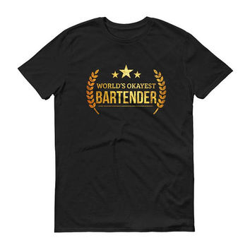Bartender t-shirt, Men's World's Okayest Bartender t-shirt - mixologists funny gifts for bartender boyfriend