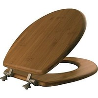 Mayfair 9401NI 568 Solid Bamboo Toilet Seat with Brushed-Nickel Hinges, Round,