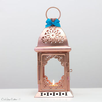 Rose Gold Effect Moroccan Lantern/ Unique Vintage Arabic Candle Holder/ Pink Gold Wedding Lanterns/ Moroccan decor/ Metal Candle Holder