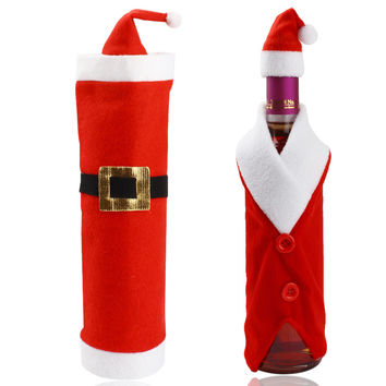 1 Set Wine Bottle Sets & Christmas Cap On Bottle Santa Gift Red New Year Decoration for New Year Home Christmas Party Supplier