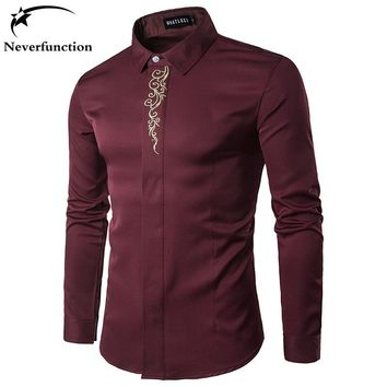 High Quality Men's Shirts Turn Down Collar Long Sleeve Embroidery Dress Shirts Men Business Work Tops Shirt S-2XL