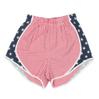 Lauren James Seersucker Gingham Shorties- Navy/Stars- FINAL SALE