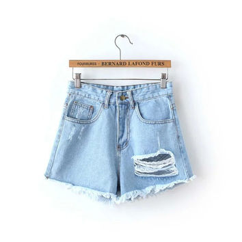 Stylish Korean Summer Ripped Holes Denim Shorts [4919970372]