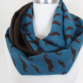 Mustache print fabric scarf, Royal blue brown scarf, mustache scarf, women's scarves, Brown Scarf, Movember, Trendy Scarves, Hipster Scarves