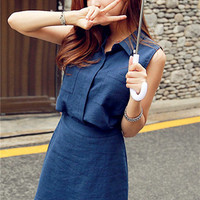 Sleeveless Polo Collar Pocket Top Elastic Band Skirt Set