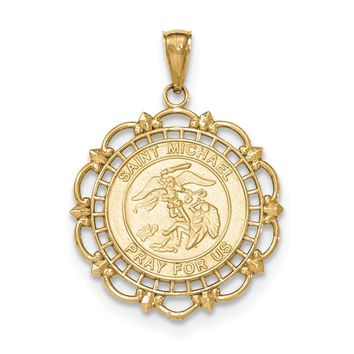 14k Yellow Gold Polished & Satin Saint Michael Medal Pendant