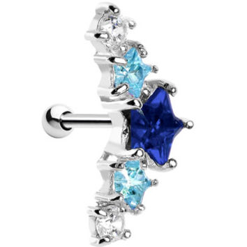 Silver 925 Sapphire and Aqua Gem Stars Cartilage Earring | Body Candy Body Jewelry